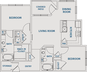 Two Bedroom / Two Bath - 1,056 Sq. Ft.*
