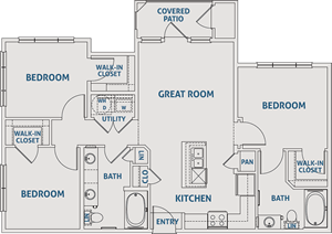 Three Bedroom / Two Bath - 1,070 Sq. Ft.*