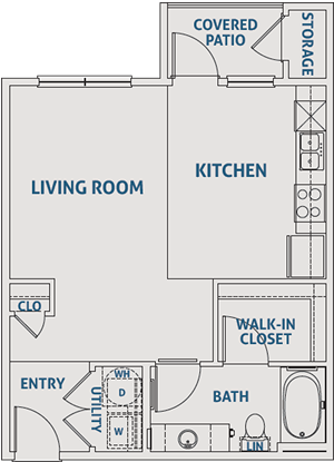 Studio / One Bath  - 557 Sq. Ft.*