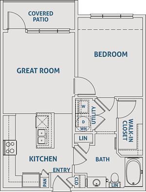 One Bedroom / One Bath - 715 Sq. Ft.*