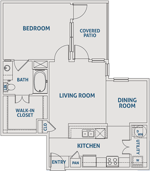 One Bedroom / One Bath - 807 Sq. Ft.*