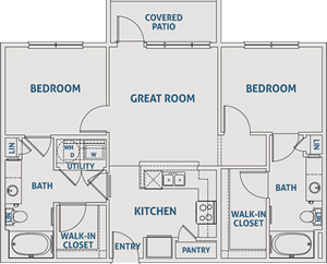 Two Bedroom / Two Bath - 925 Sq. Ft.*