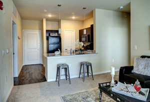 Alternative Interior Photo showing Kitchen with Barstools at Martha's Vineyard Place Apartments